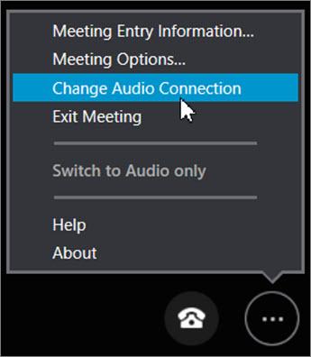 Щракнете върху Промяна на аудио връзка