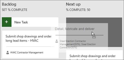 Екранна снимка на преместването на задача от една колона на таблото на задачите в друга.