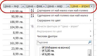 Автофилтри, които се показват в заглавия на колони в таблица на Excel