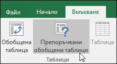 """Отидете на """"Вмъкване > Препоръчани обобщени таблици"""", за да накарате Excel да създаде обобщена таблица вместо вас"""