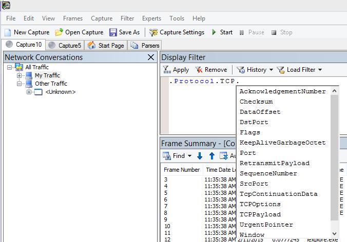Екранна снимка на Netmon, показваща, че полето за филтър за показване използва IntelliSense.