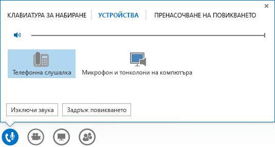 Екранна снимка на опции за аудио