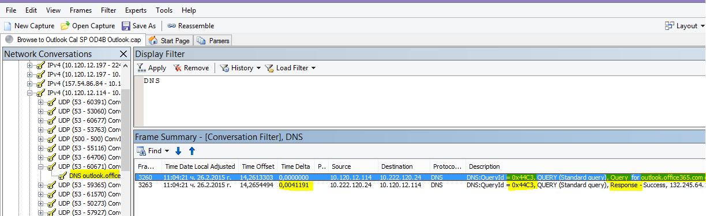 """Проследяване Netmon на натоварването на Outlook онлайн, филтрирано по DNS и с използване на """"Намиране на разговори, после DNS"""", за да стесните резултатите."""