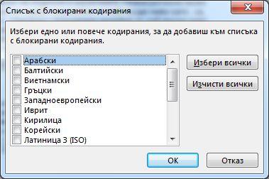 Диалогов прозорец ''Списък с блокирани кодирания''