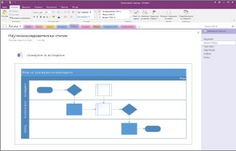 Екранна снимка на диаграма на Visio, вградена в OneNote 2016.