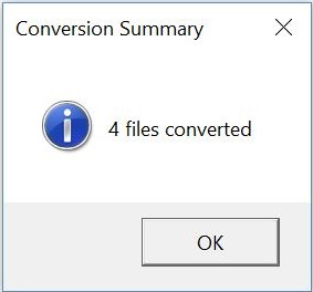 the screenshot of the conversion summary dialog box