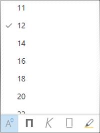 Менюто размер на шрифта се отваря в Outlook в уеб.