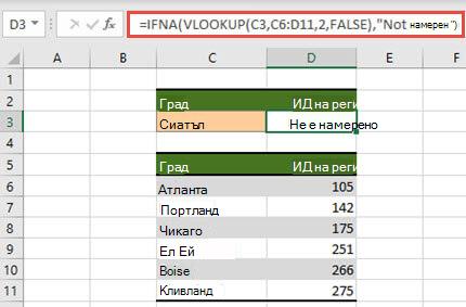 Изображение на използването на IFNA с VLOOKUP, за да предотвратите показването на #N/A грешки.