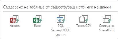 Избор на източник на данни: Access; Excel; данни на SQL Server/ODBC; текст/CSV; списък на SharePoint.