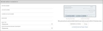 Снимка на екрана: Връзка банковата ви сметка към резервиране чрез въвеждане на банка име, маршрутизиране и акаунт за числа