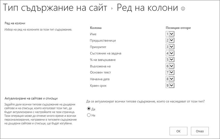 Тип съдържание колоната ред на страницата