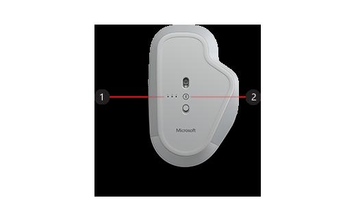 Картина на долната част на мишката за прецизност на Surface, като посочва бутонът сдвояване и индикаторите за сдвояване.