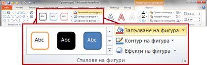 разделът ''форматиране'' в лентата на powerpoint 2010.