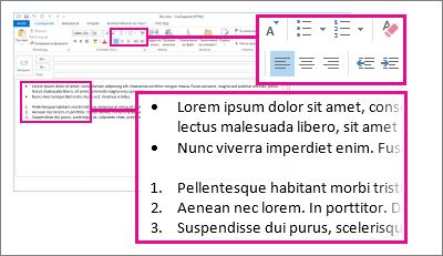 Примери за списъци с номерация или водещи символи в съобщение