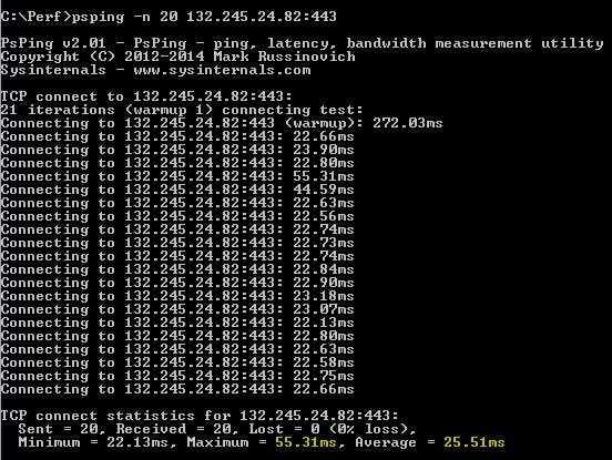 PSPing команда psping -n 20 132.245.24.82:443, връщаща средно закъснение 25,51 милисекунди.