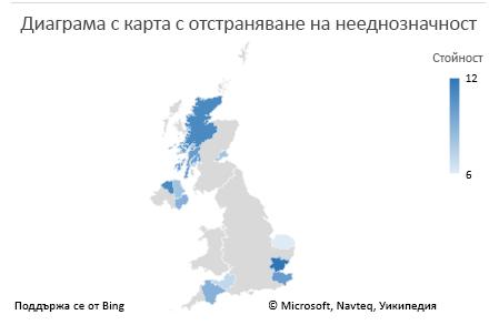 Диаграма на еднозначни данни на диаграма с карта на Excel
