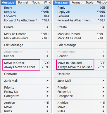 """Двете възможности за избор в менюто """"Преместване във """"Фокусирани"""" са """"Премести във """"Фокусирани"""" и """"Винаги премествай във """"Фокусирани"""""""