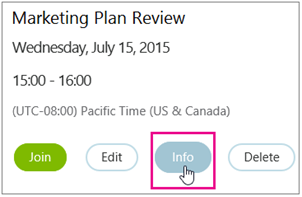Meeting details with Info button highlighted