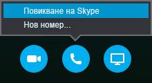 """Изберете """"Повикване"""", за да се свържете със разговор по Skype или да ви повикат от събранието"""