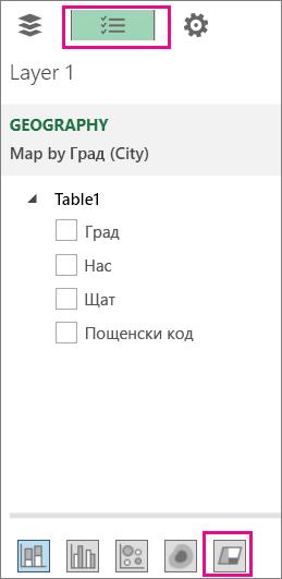 иконата за регионална диаграма в раздела ''списък с полета''