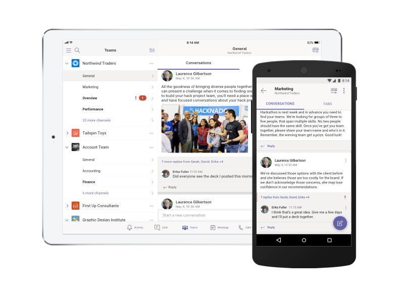 Microsoft Teams на таблет и телефон