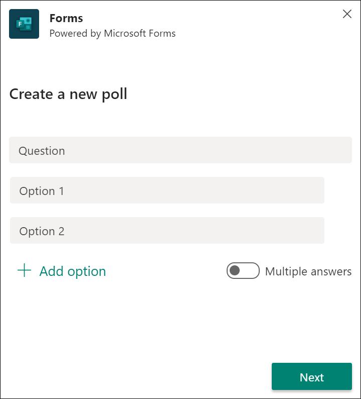 Резултати от бързото запитване за формуляри в Microsoft Teams