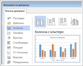 Диалогов прозорец ''Вмъкване на диаграма'', показващ вариантите и визуализациите на диаграмите