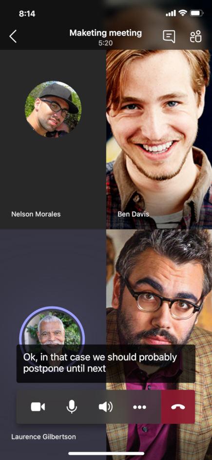 Надписи на живо, показани в събрание в мобилното приложение Teams