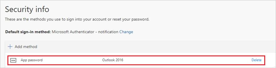 Страница с информация за защитата, с нова парола за приложение, показана в списъка