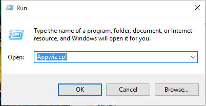 On the Start screen, go toRunand type Appwiz.cplto open the Programs and Features window of Control Pane.
