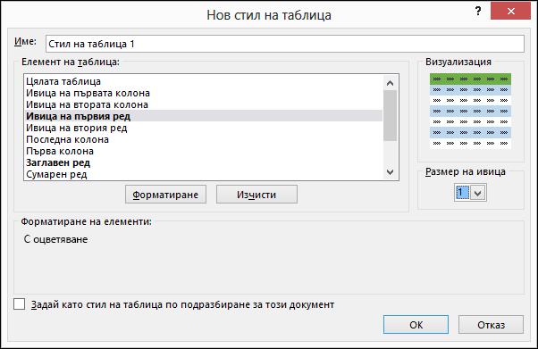 """Опции в диалоговия прозорец """"Нов стил на таблица"""" за прилагане на стилове по избор към таблица"""