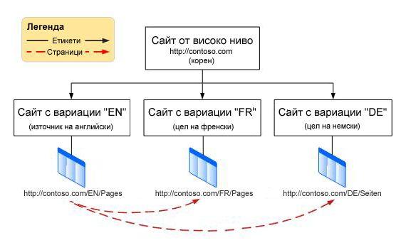 Йерархична схема, на която е показан главен сайт на най-горно ниво с три вариации под него. Вариациите са на английски, френски и немски