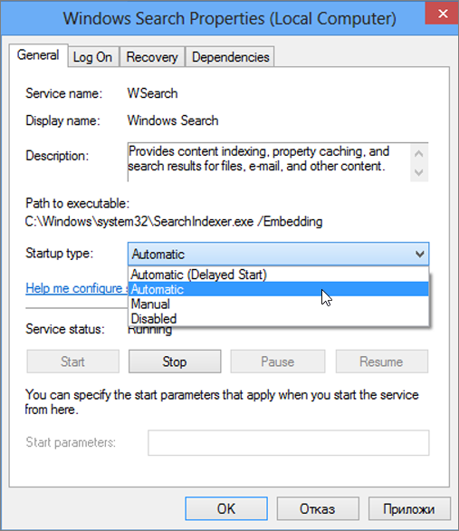 """Екранна снимка на диалоговия прозорец """"свойства на търсене на Windows"""" ви показва настройката избрано автоматично за тип на стартиране."""