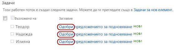 Задачата в списък на страницата ''Състояние на работния поток'' с изнесен текст ''Моля, прегледайте''