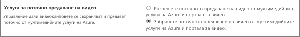 """Настройката """"Дезактивиране на Office 365 Video"""" в центъра за администриране на SharePoint Online"""