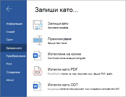 Word за Web-Save Options