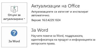 """Когато Office е инсталиран с технологията """"Кликни и стартирай"""" информацията за """"Приложение"""" и """"Актуализиране"""" изглежда така."""