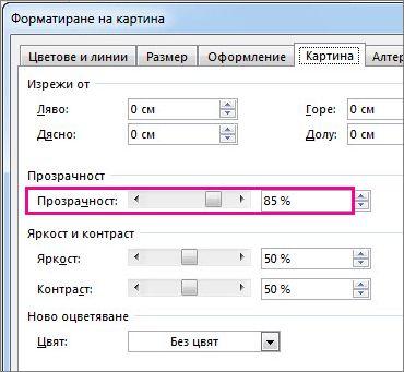 """Екранна снимка на диалоговия прозорец """"Форматиране на картина"""" в Publisher."""