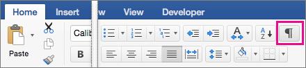 """В раздела """"Начало"""" е осветена опцията """"Покажи знаците за редактиране"""""""