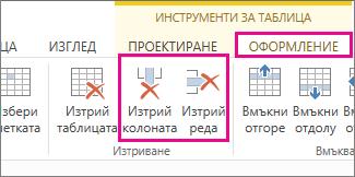 """Изображение на командите за изтриване на таблица и изтриване на ред в раздела """"Оформление"""" на """"Инструменти за таблица"""" на лентата"""