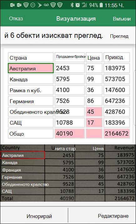 Excel импортиране на данни от картина ви дава възможност да коригирате всички проблеми, които е намерила при преобразуването на данните.