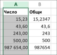 """пример как числата се показват с различни формати, като форматите """"Общи"""" и """"Число""""."""