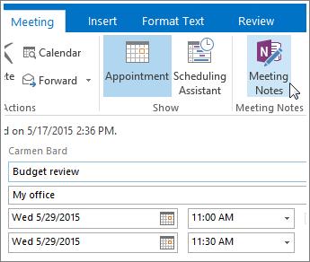 Екранна снимка на бутона за бележки от събрание на OneNote в Outlook.