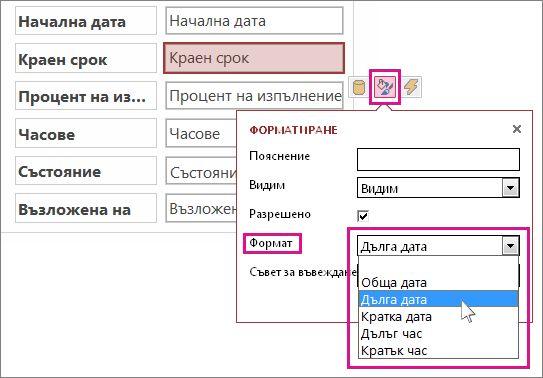 Изображение на менюто ''Форматиране'' в приложение на Access.