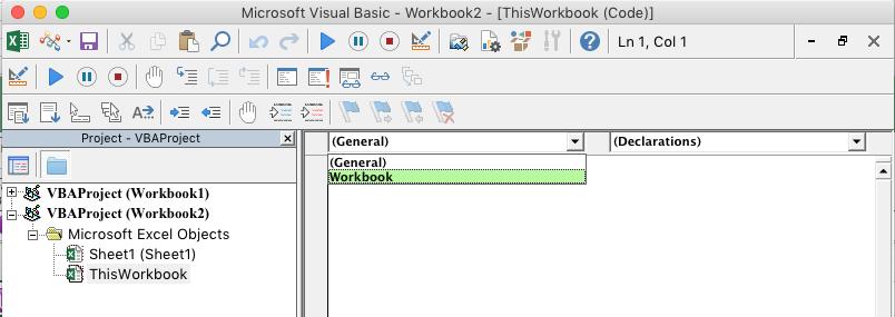 VBE редакторът с показан падащ списък за избор на обект