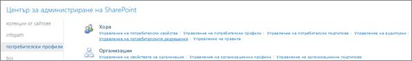 Управление на потребителски разрешения връзка на страницата за потребителски профили