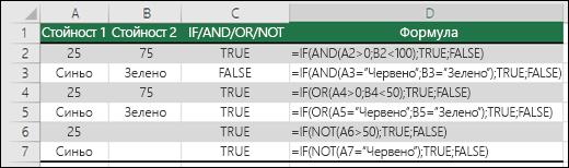 Примери за използване на IF с AND, OR и NOT за изчисляване на числови стойности и текст