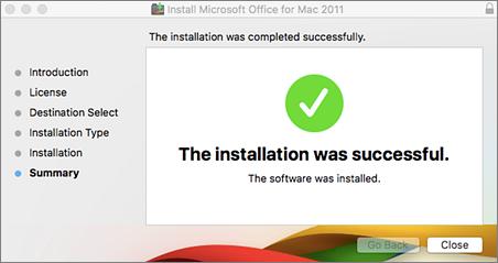 Екранна снимка на прозореца със съобщение, че инсталирането е успешно
