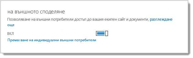Изображение, показващо контролата за включване/изключване за даване на външните потребители на достъп до вашия екипен сайт и документи.