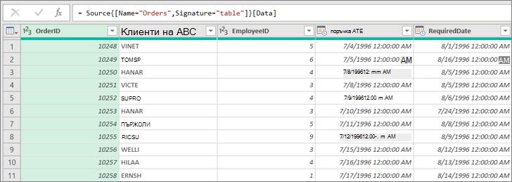 Падащ списък с отметки в лист с данни